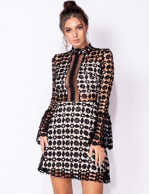 e0e61153089 High Neck Mini Dress in Black and White Bodicon Style | Jessica B.